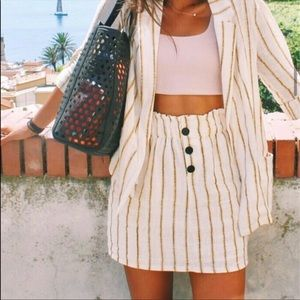 Bershka Lemon Yellow Striped Skirt/Jacket set